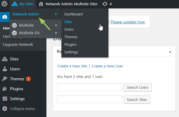The menu Network Admin of a WordPress multisite