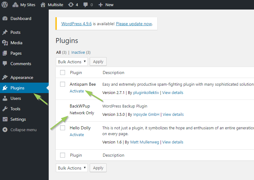 The plugins administration as site admin in a WordPress multisite
