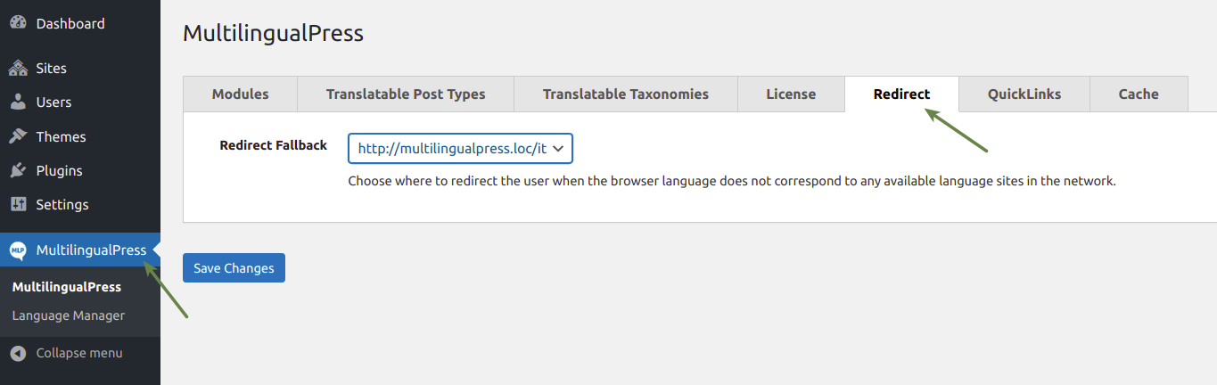 MultilingualPress Redirect Fallback