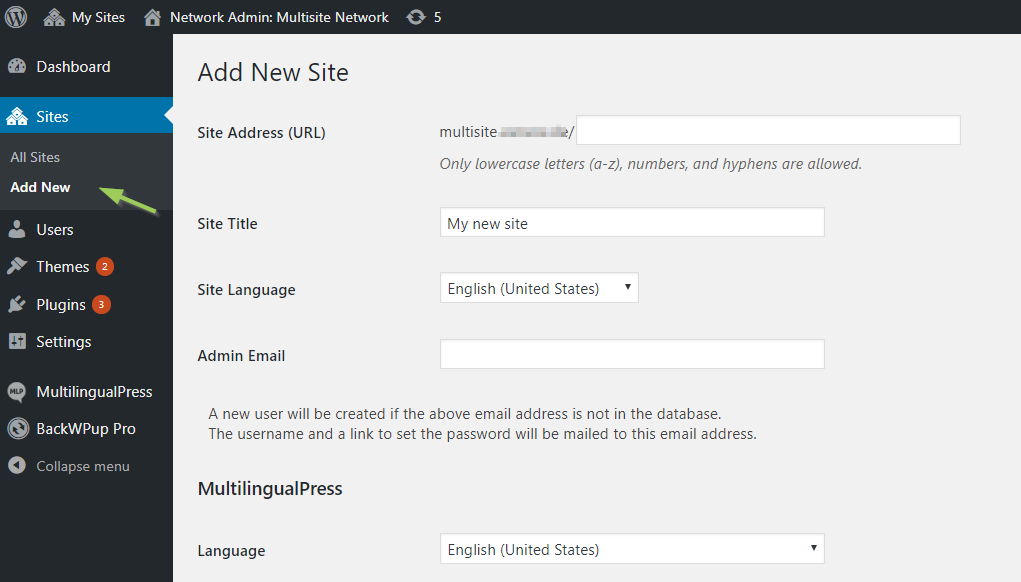 Add a new website to the network: the general settings of WordPress multisite