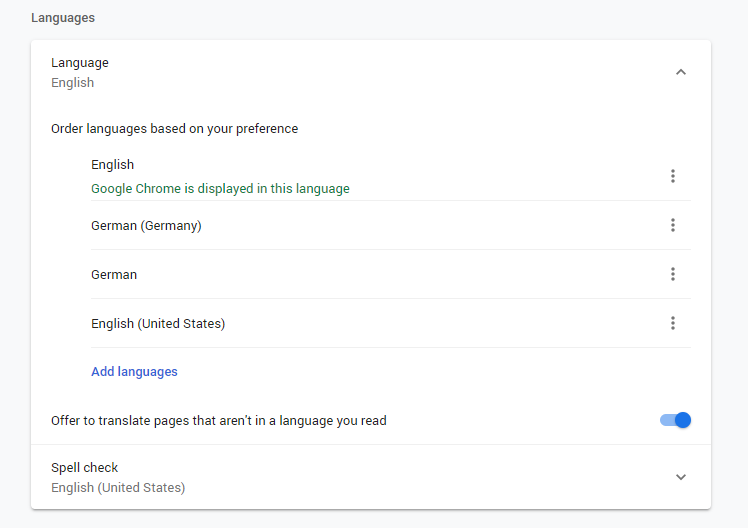 Browser language settings using Google Chrome as an example (found in Chrome under Settings → Languages)