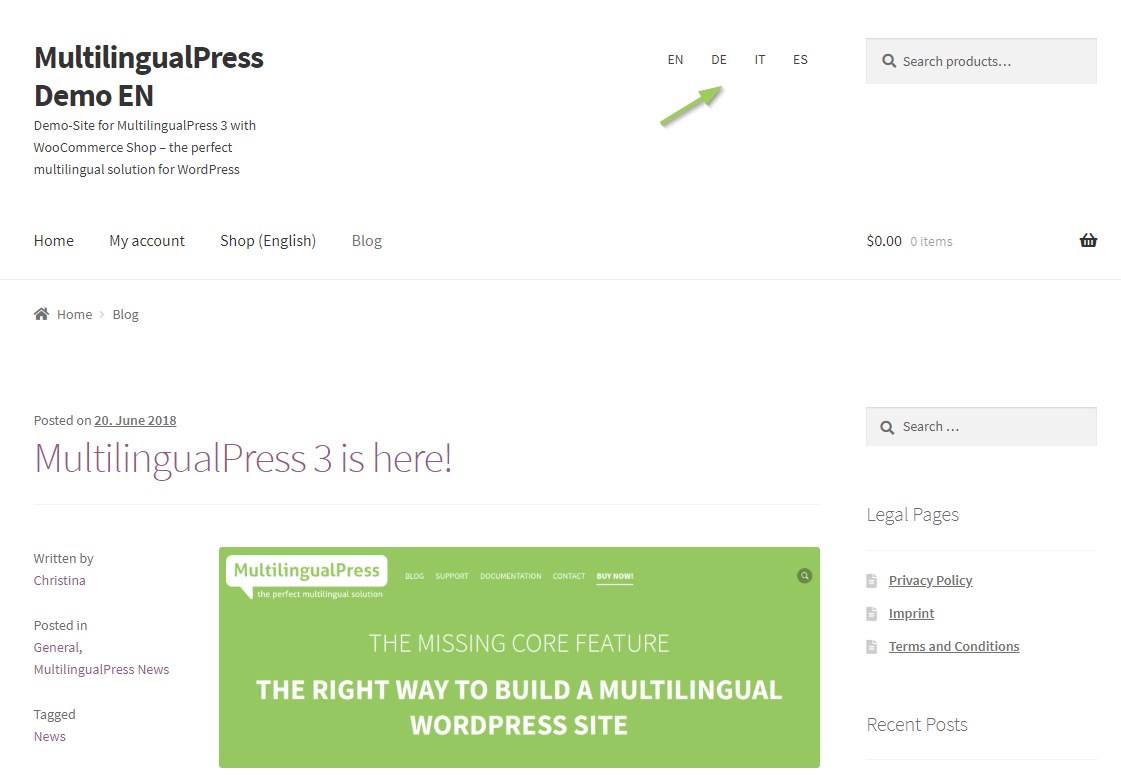 MultilingualPress language menu in the front end: integrated top right as a menu, in the sidebar as a widget