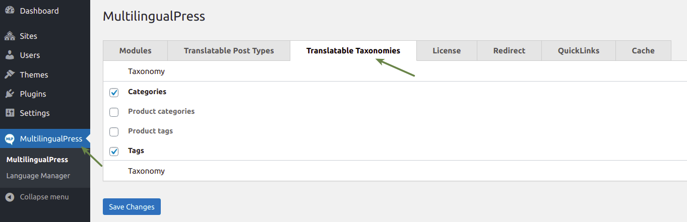 Set translatable taxonomies with MultilingualPress