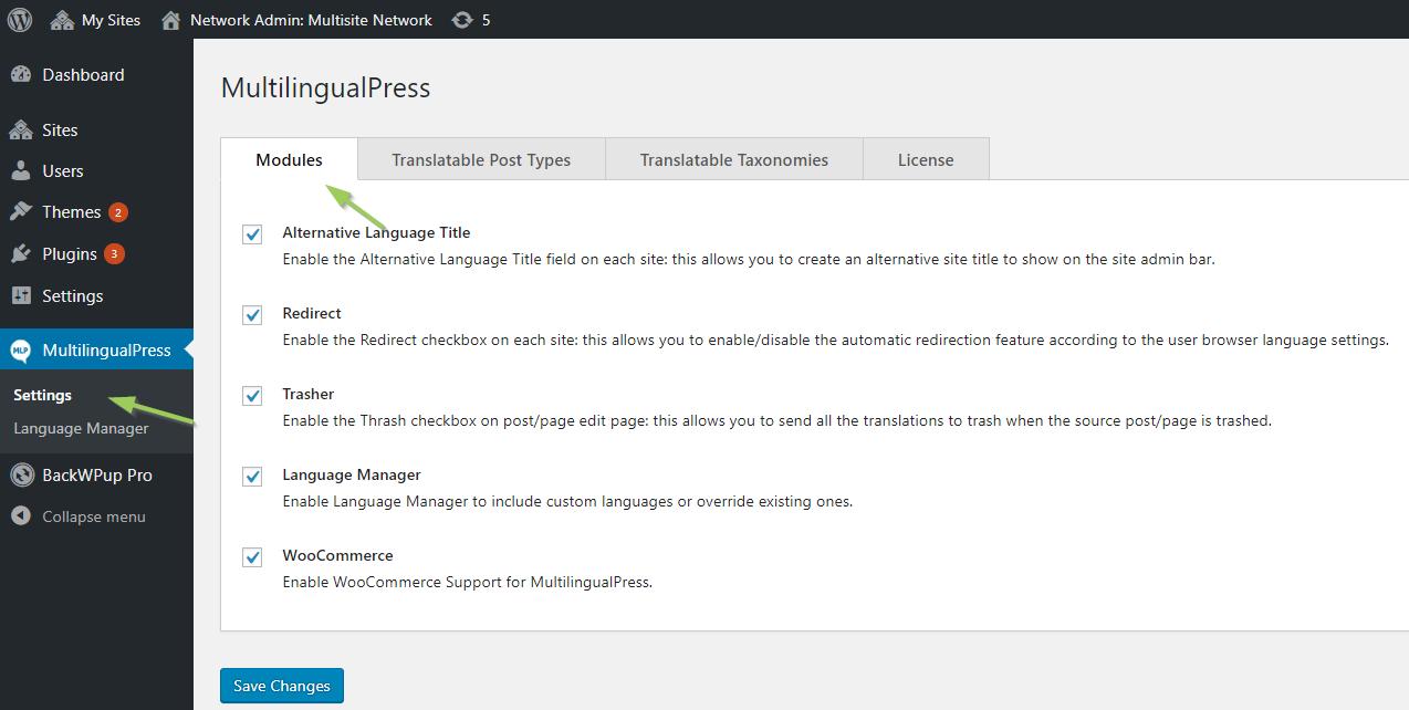 Enable MultilingualPress modules