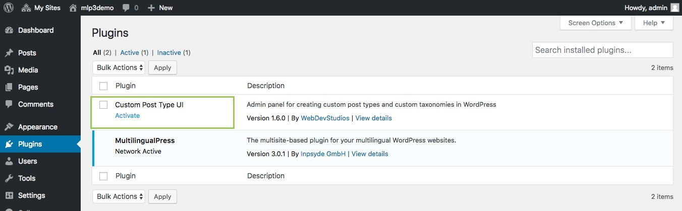 Install the plugin Custom Post type UI