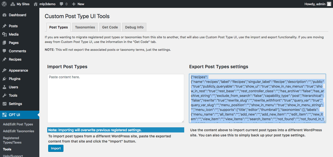 Copy the content of the Export Post Type settings field from site 1...