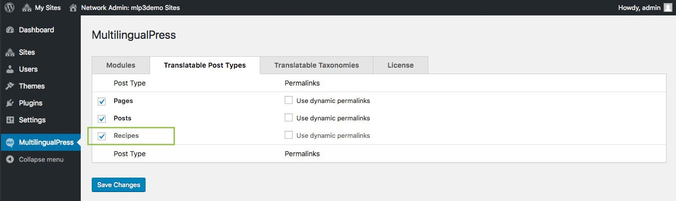 Enable Recipes in Translatable Post Types tab.