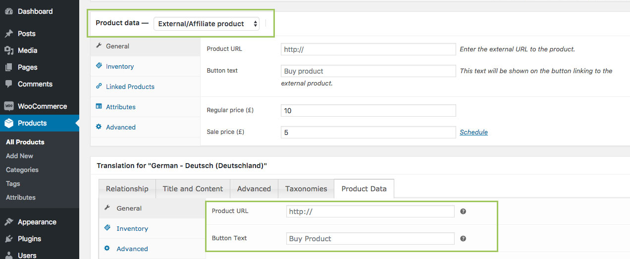 WooCommerce MultilingualPress Product Data – External Product
