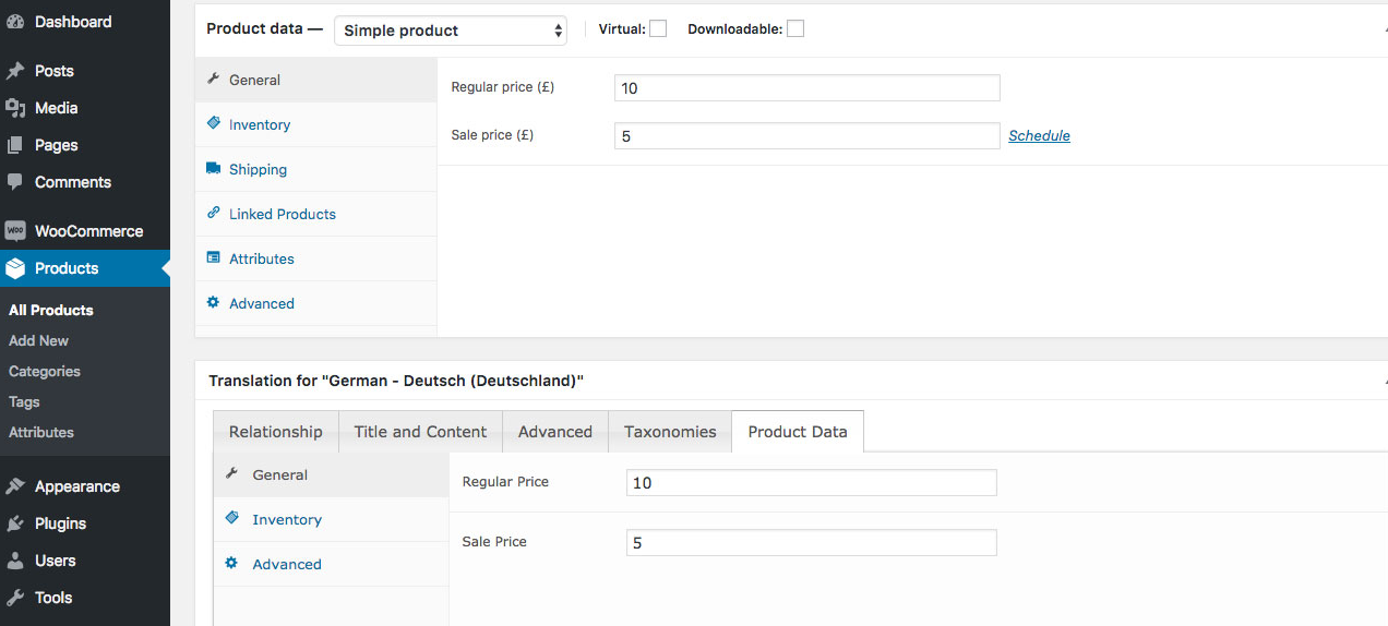 WooCommerce MultilingualPress Product Data – Simple Product, Price Settings