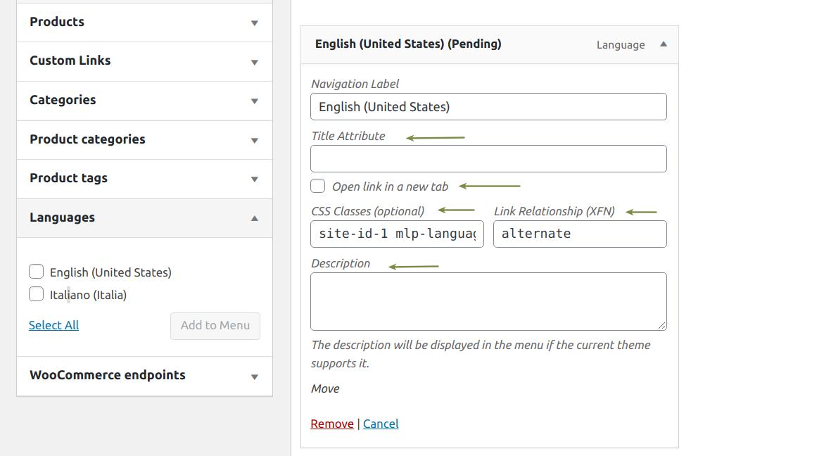 Language menu set up individual settings