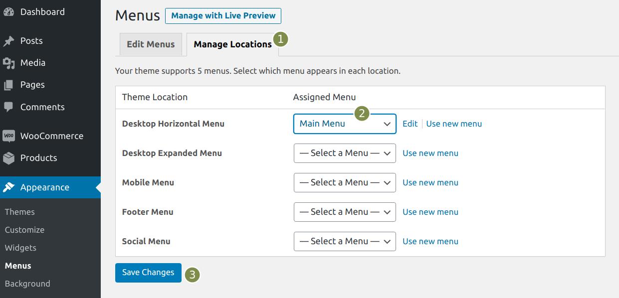 Set up voice menu: Set position on website.