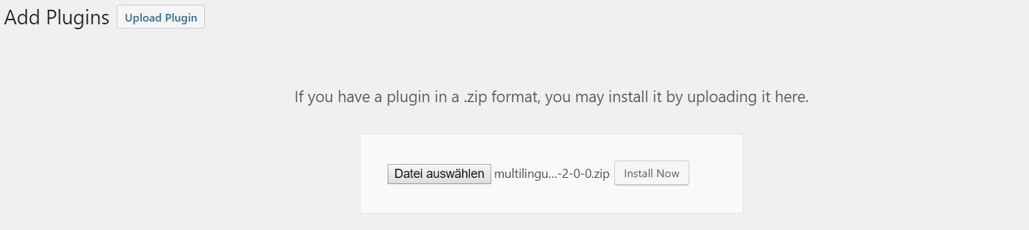 WordPress Upload Plugin Menu