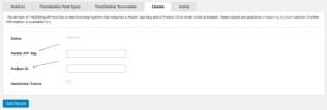 MultilingualPress New License Tab
