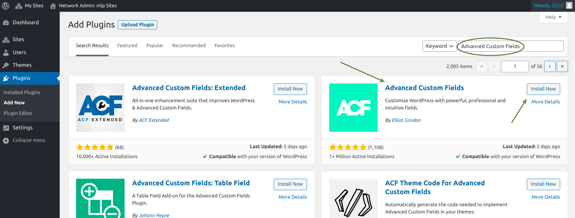 ACF plugin download on wordpress.org