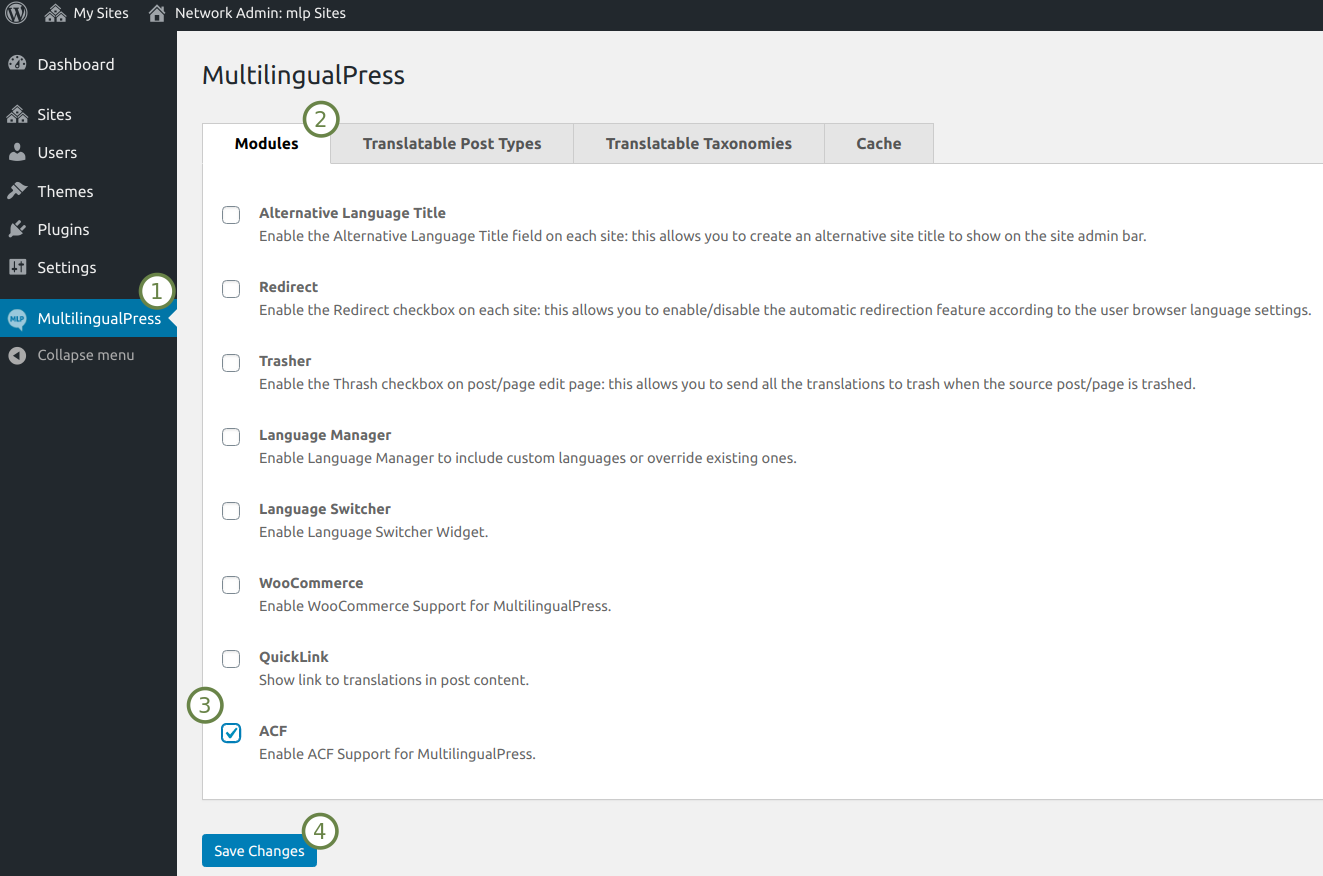MultilingualPress Modules settings tab