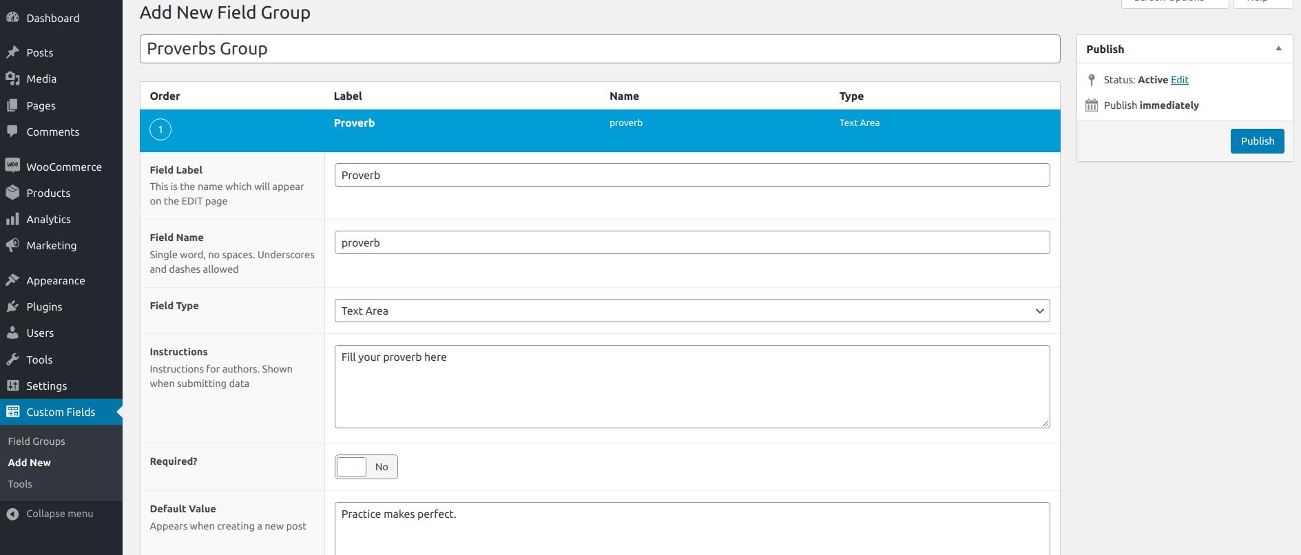 ACF Settings screen to create a custom field