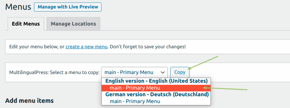 MultilingualPress - Copy Menu feature
