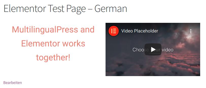 Elementor Test Page - German version