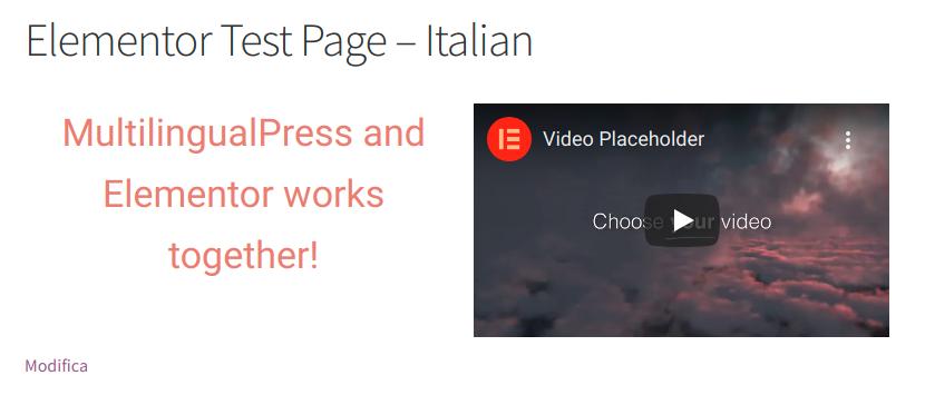Elementor Test Page - Italian version