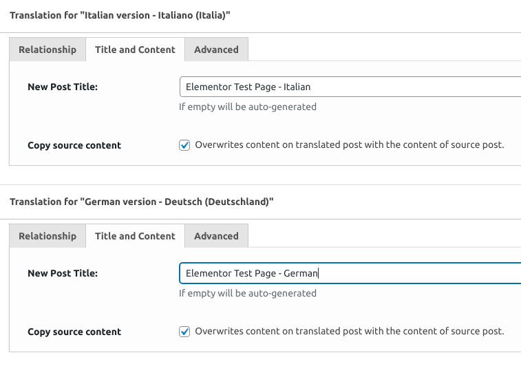 Translation metaboxes configured